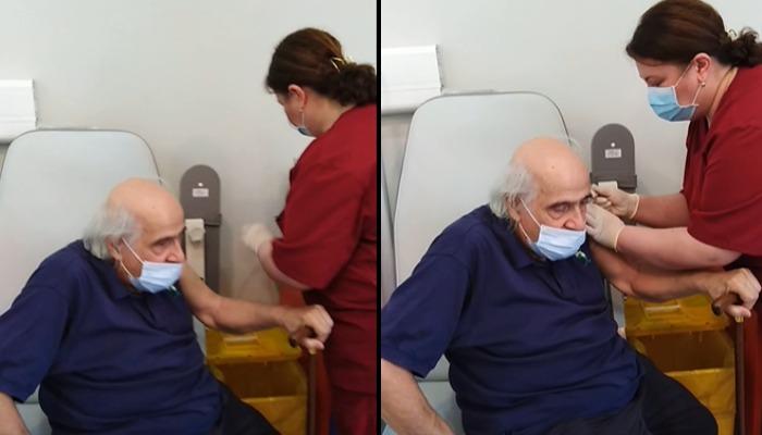 85 წლის ვაჟა აზარაშვილი კორონავირუსის ვაქცინით აიცრა (ვიდეო)